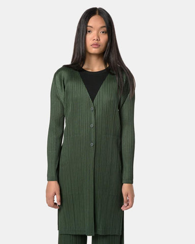 Cardigan Dress in Forest by Issey Miyake Pleats Please at Mohawk General Store