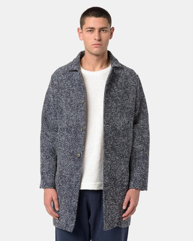 Janus Knit Coat in Navy