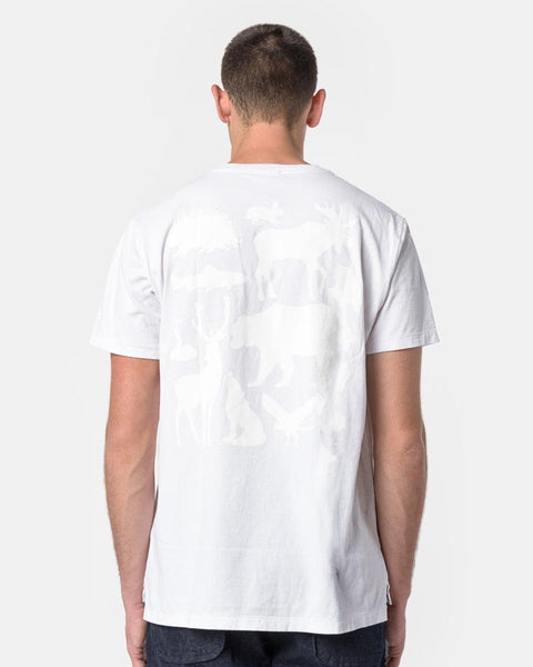 Printed Cross Crew Neck T-Shirt in White