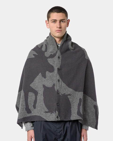 Button Shawl in Grey Animal Print by Engineered Garments at Mohawk General Store
