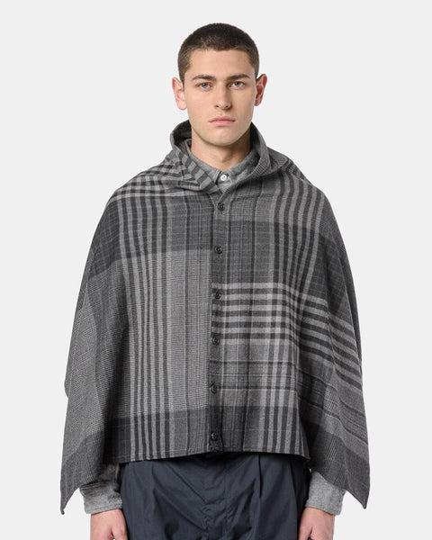 Button Shawl in Grey and Black Plaid by Engineered Garments at Mohawk General Store
