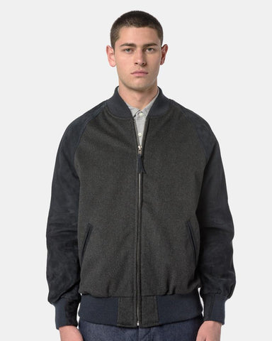 Wool Varsity Jacket in Charcoal