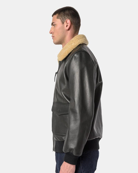 Leather Bomber with Fur Collar in Black