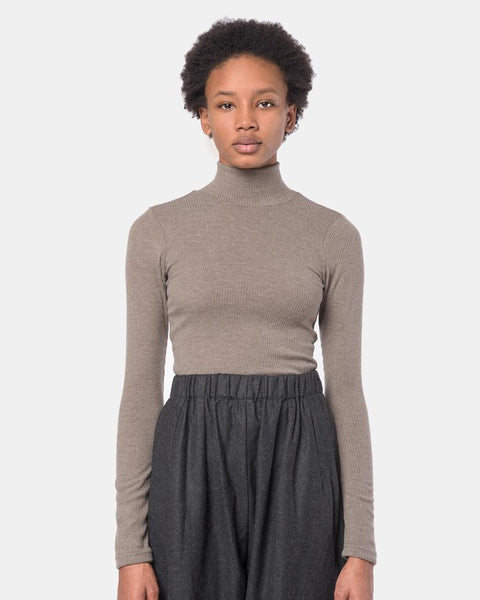 Powder Mock Neck Tee in Taupe