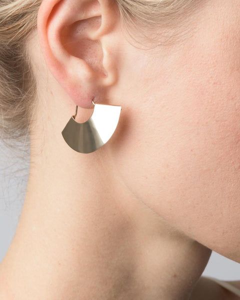 Fan Earrings in 14K Yellow Gold by Kathleen Whitaker at Mohawk General Store - 2
