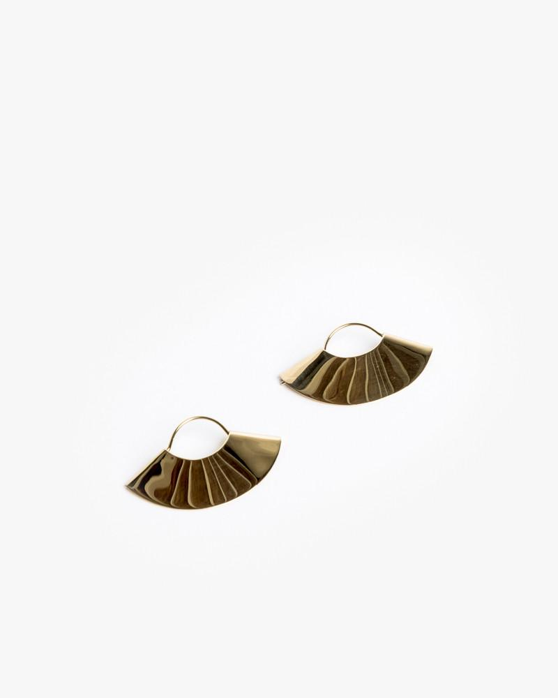 Fan Earrings in 14K Yellow Gold by Kathleen Whitaker at Mohawk General Store - 1
