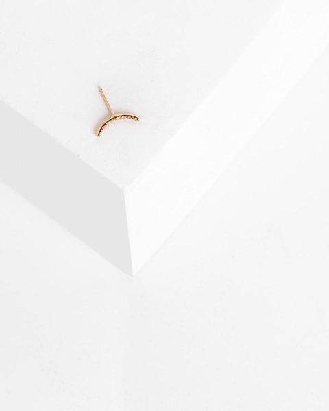 Pave Moon Stud in 14k Yellow Gold by Kristen Elspeth at Mohawk General Store - 1