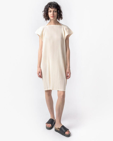 Square Dress in Off White by Issey Miyake Pleats Please at Mohawk General Store - 4