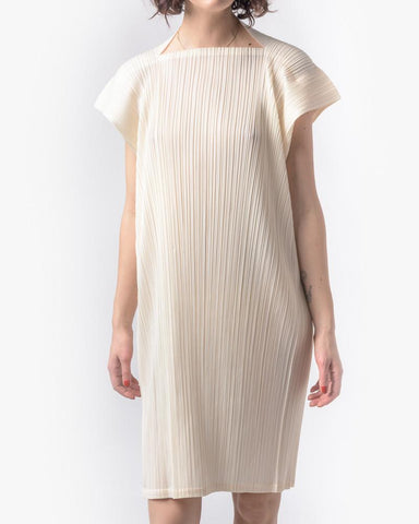 Square Dress in Off White by Issey Miyake Pleats Please at Mohawk General Store - 1