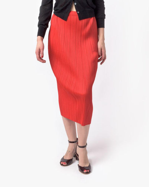 Slim Skirt in Red by Issey Miyake Pleats Please at Mohawk General Store - 1