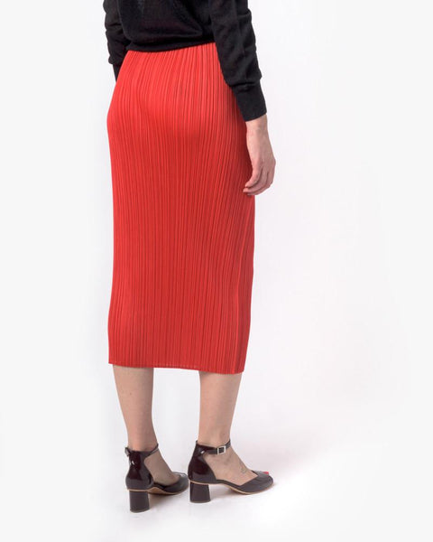 Slim Skirt in Red by Issey Miyake Pleats Please at Mohawk General Store - 3