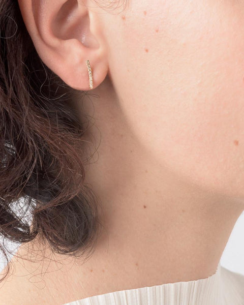 Pave Moon Stud in 14k Yellow Gold by Kristen Elspeth at Mohawk General Store - 3