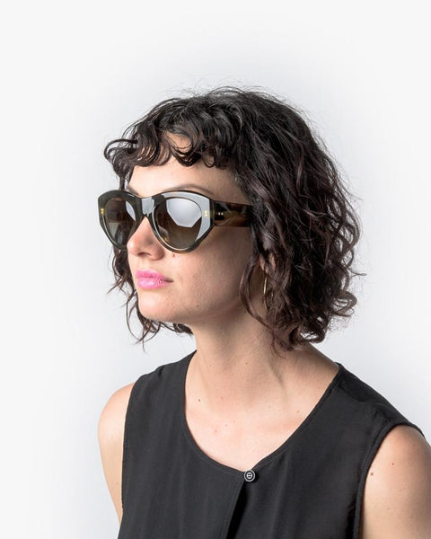 Sunglasses in Swirl Horn/Silver/Brown Blue Gradient by Dries Van Noten x Linda Farrow at Mohawk General Store - 5