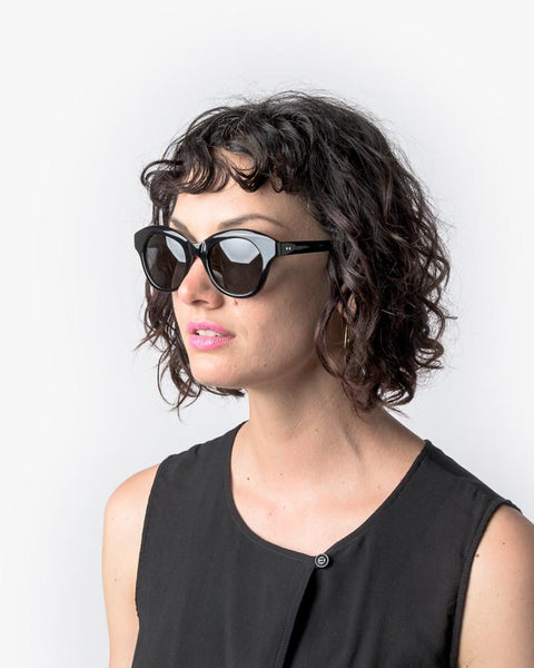 Thin Sunglasses in Black/Silver/Grey by Dries Van Noten x Linda Farrow at Mohawk General Store - 5