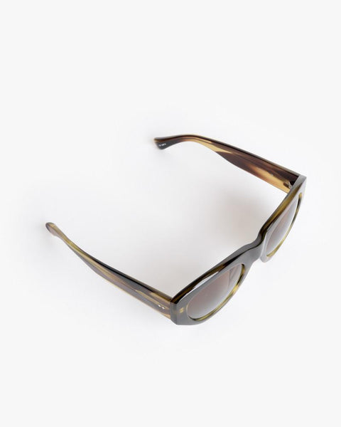 Sunglasses in Swirl Horn/Silver/Brown Blue Gradient by Dries Van Noten x Linda Farrow at Mohawk General Store - 4