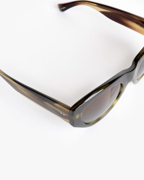 Sunglasses in Swirl Horn/Silver/Brown Blue Gradient by Dries Van Noten x Linda Farrow at Mohawk General Store - 3