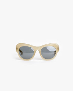 Thick Sunglasses in Khaki/Silver/Grey by Dries Van Noten x Linda Farrow at Mohawk General Store - 1