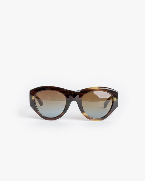 Sunglasses in Swirl Horn/Silver/Brown Blue Gradient by Dries Van Noten x Linda Farrow at Mohawk General Store - 1