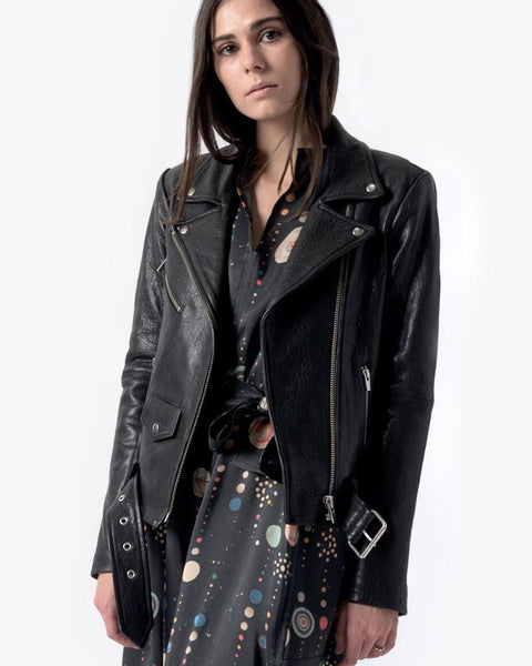 Jayne Leather Jacket in Classic Black by VEDA at Mohawk General Store - 4
