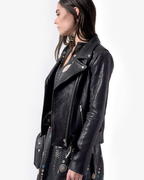 Jayne Leather Jacket in Classic Black by VEDA at Mohawk General Store - 5