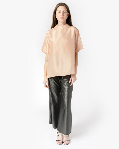 Amber Short Sleeve Silk Mockneck Top in Peach by Kaarem at Mohawk General Store
