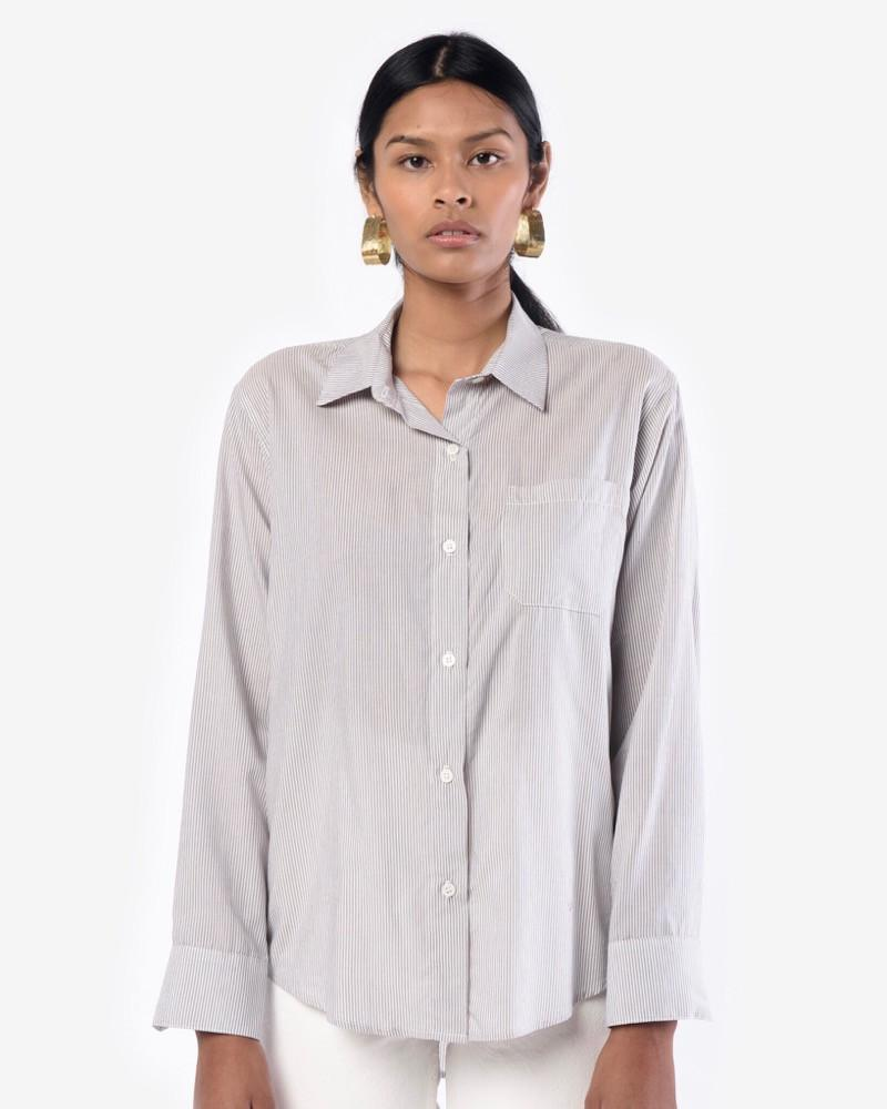 Jesse Kamm Georgia Button Down in Slate Stripe Mohawk General Store