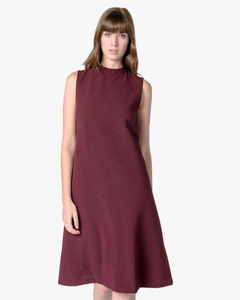 Skywave Sleeveless Back Pleat Slit Dress in Burgundy by Kaarem at Mohawk General Store