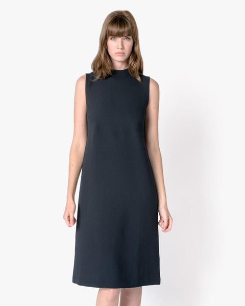 Skywave Sleeveless Back Pleat Slit Dress in Black Blue by Kaarem at Mohawk General Store