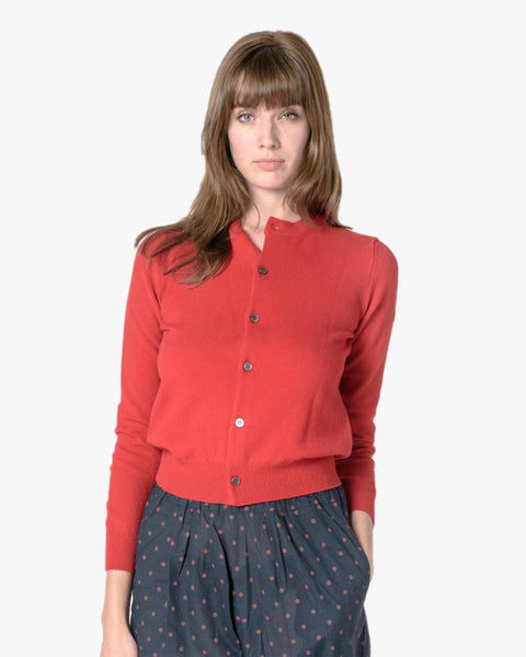 Cardigan in Red by Comme des Garçons PLAY at Mohawk General Store