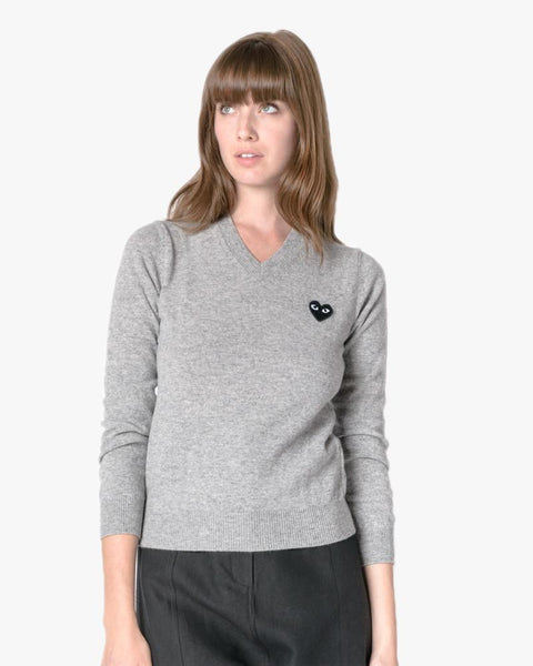 V-Neck Sweater in Grey by Comme des Garçons PLAY at Mohawk General Store