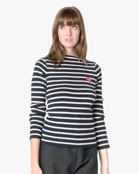 Striped Sweater in Navy/White by Comme des Garçons PLAY at Mohawk General Store