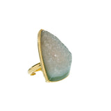 Druzy Ring - Sea Green Agate
