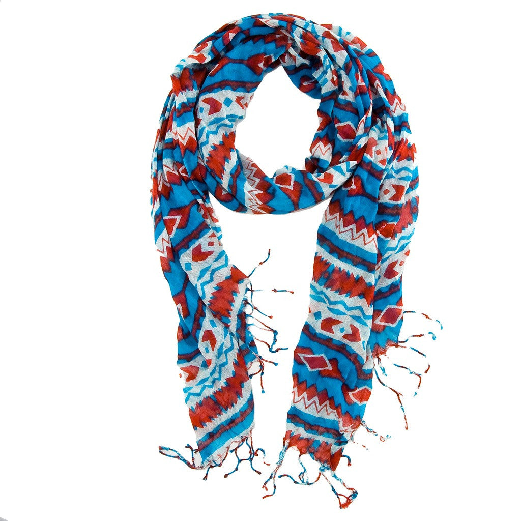 Aztec Print Scarf - Red/Turquoise