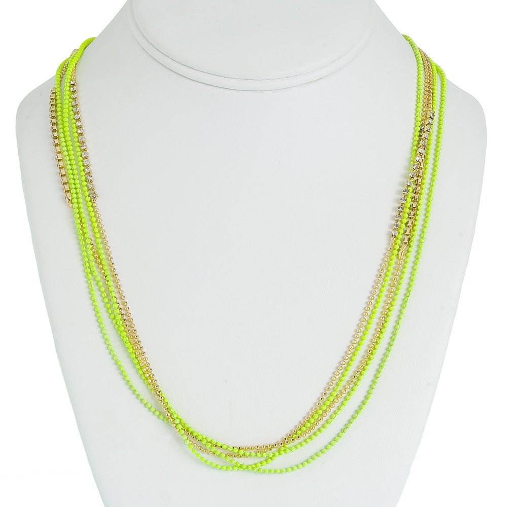 Day-Glo Dangle Necklace--Fluor Yellow