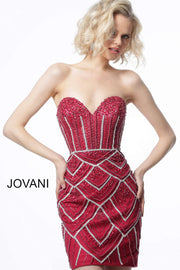 MORVARIEDS - Cocktail Dress Burgundy Corset Back Beaded Strapless 2394