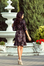 MORVARIEDS - Floral Dress with flounces and belt - black + colorful flowers