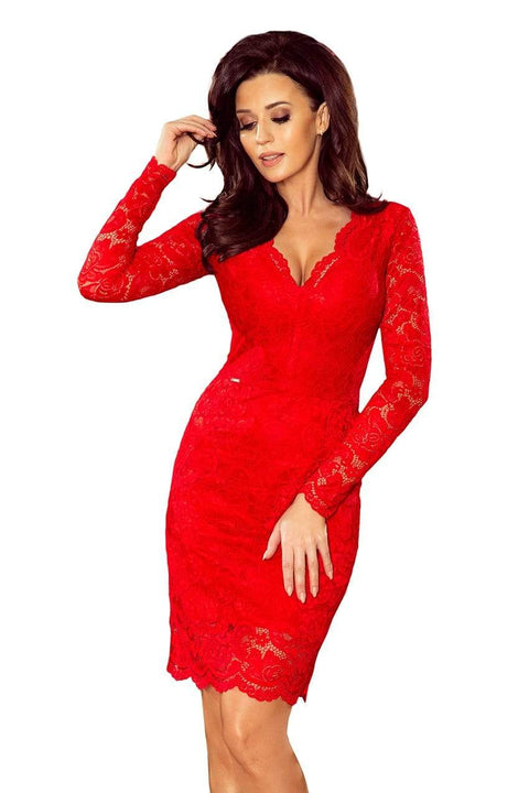 MORVARIEDS - Long Sleeve V Neck Lace Sheath Dress - Color variants