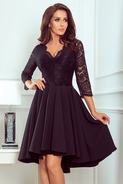 Black Dress with Lace Neckline and longer Back - Morvarieds Fashion