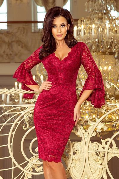 Burgundy Cocktail Dress, Lace Party Dress with Flared Sleeves - Morvarieds Fashion