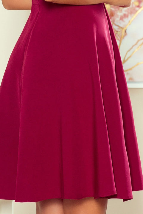 Burgundy Party Dress Sleeveless Flared Dress with Frill - Morvarieds Fashion