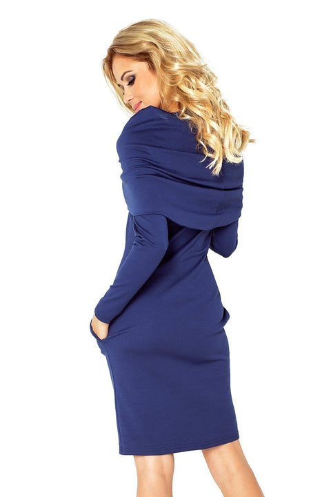 Dress with large turtleneck and pockets - Navy Blue - Morvarieds Fashion