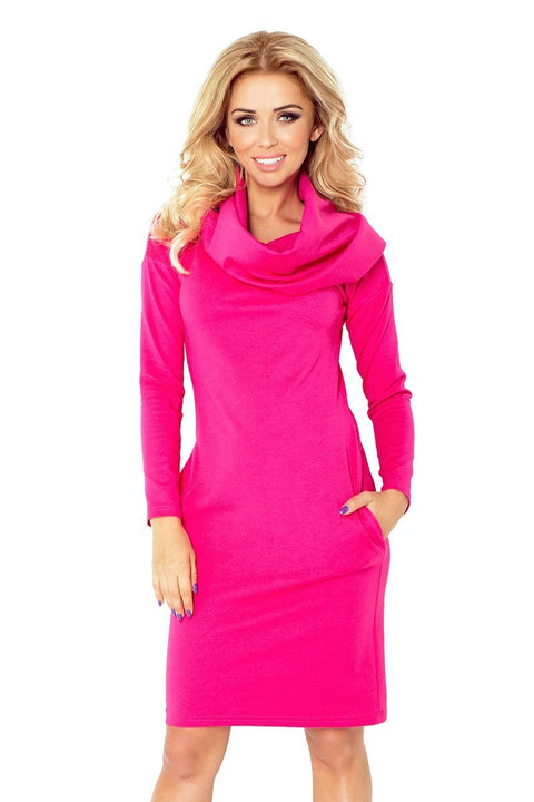 Dress with large turtleneck and pockets - Raspberry - Morvarieds Fashion
