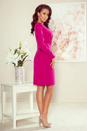 Fuchsia Cocktail Dress, Wrap effect Mini Dress - Morvarieds Fashion