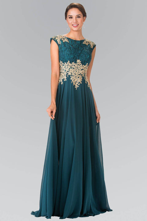 GL2228 Elizabeth K Embroidered Lace Top with Chiffon Skirt Long Dress with Sheer Back-Teal - Morvarieds Fashion
