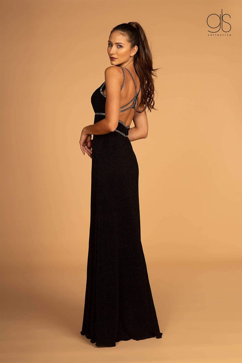 GL2503 Elizabeth K Double Waist-Bands V-Neck Long Dress w/ Strap Back- Black - Morvarieds Fashion