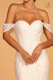 GL2591 Cut-Away Shoulder Wedding Dress - Morvarieds Fashion