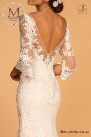 GL2592 Embroidered Mesh Mermaid Wedding Gown w/ V-Back - Morvarieds Fashion
