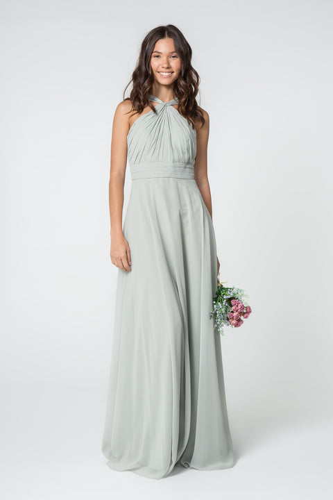 GL2816 Long Dress, High-Neck Chiffon Ruched-Bodice A-Line - Colour Variants - Morvarieds Fashion