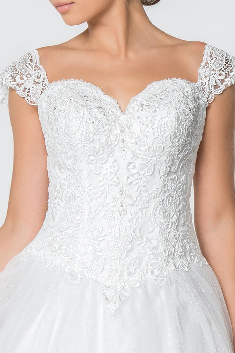 GL2817 Wedding Dress, Jewel and Lace Embellished Glitter Mesh Wedding Gown - Morvarieds Fashion