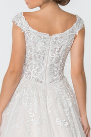 GL2823 Wedding Dress, Lace Embellished Bodice A-Line Wedding Gown - Morvarieds Fashion